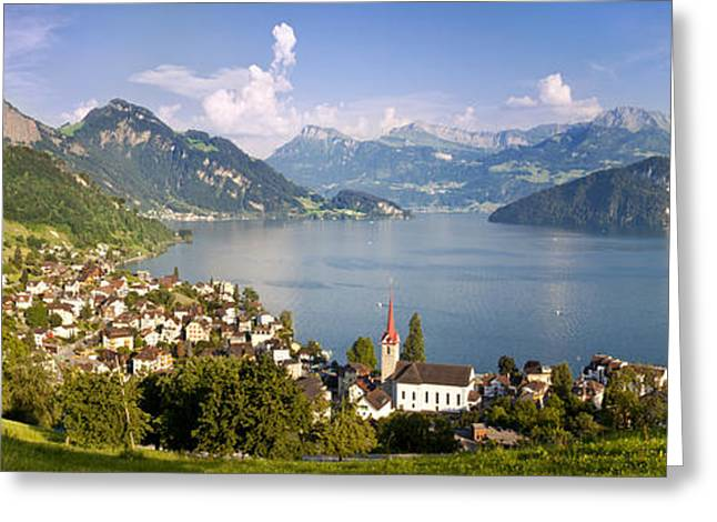 Swiss Photographs Greeting Cards - Weggis Switzerland Greeting Card by Brian Jannsen