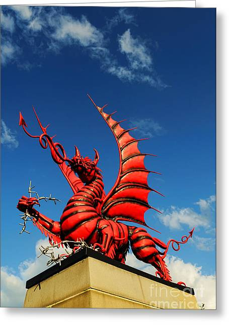 Senseless Greeting Cards - Welsh Dragon Greeting Card by Colin Woods