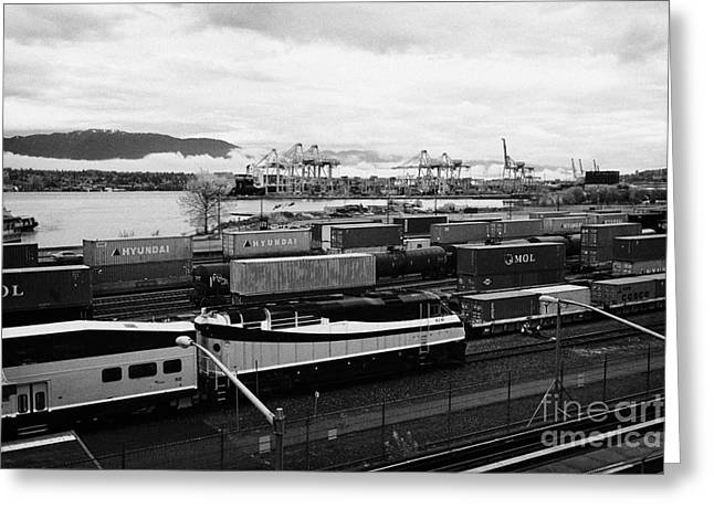 North Vancouver Greeting Cards - west coast express platform train tracks and freight terminal area of waterfront station Vancouver B Greeting Card by Joe Fox