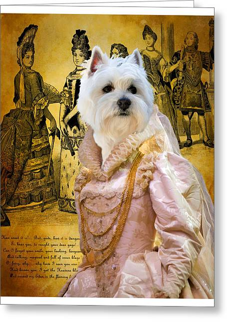 Westie Art Greeting Cards - West Highland White Terrier Art Canvas Print Greeting Card by Sandra Sij