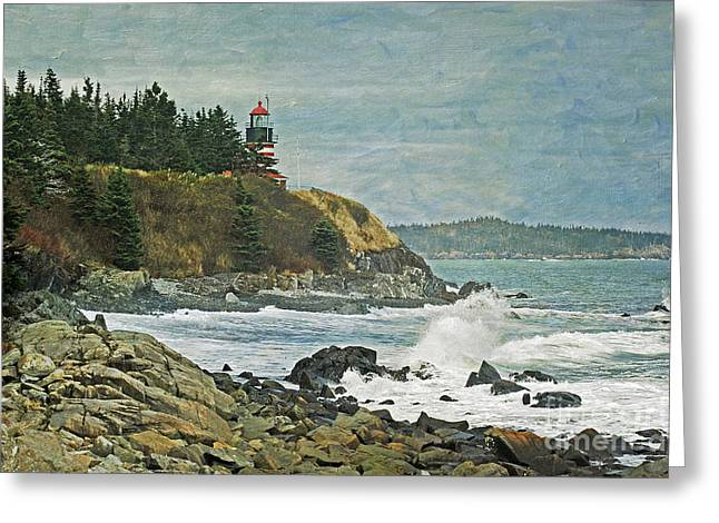 West Quoddy Head Lighthouse Greeting Card by Cindi Ressler