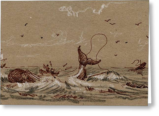 Whaler Ship Greeting Card by Juan  Bosco