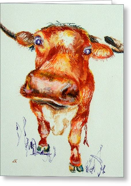 Steer Drawings Greeting Cards - What No Cable Greeting Card by Diane Kraudelt