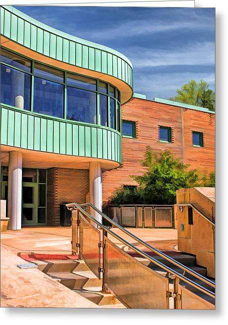 Library Paintings Greeting Cards - Wheaton Public Library Greeting Card by Christopher Arndt