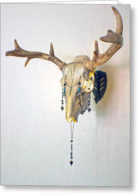 Steer Mixed Media Greeting Cards - White and Gold White Tail Illuminating Skull Greeting Card by Mayhem Mediums