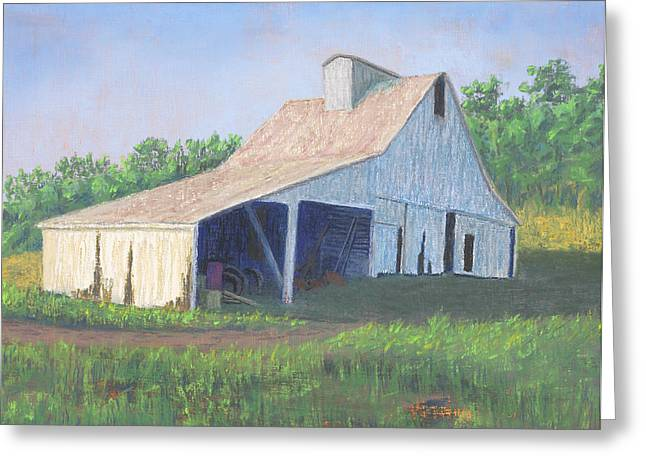 White River Scene Pastels Greeting Cards - White Barn on Bluff Road Greeting Card by Garry McMichael