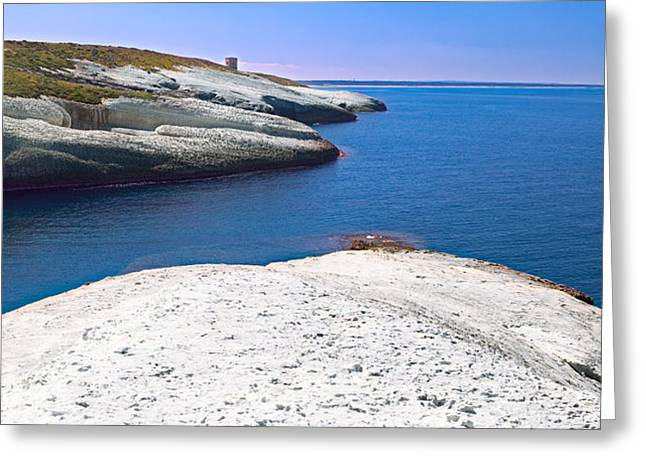 Ocean Panorama Greeting Cards - White Chalk Cliffs Eroded Coastline Greeting Card by Dirk Ercken