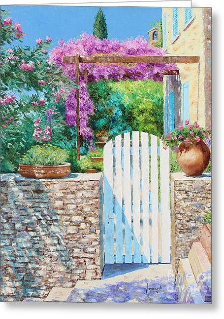 Marc Greeting Cards - White Gate Greeting Card by Jean-Marc Janiaczyk