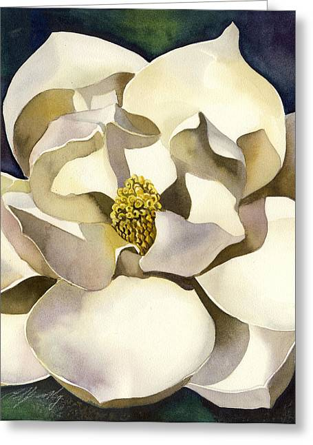 Alfred Ng Art Greeting Cards - White Magnolia With Blues Greeting Card by Alfred Ng
