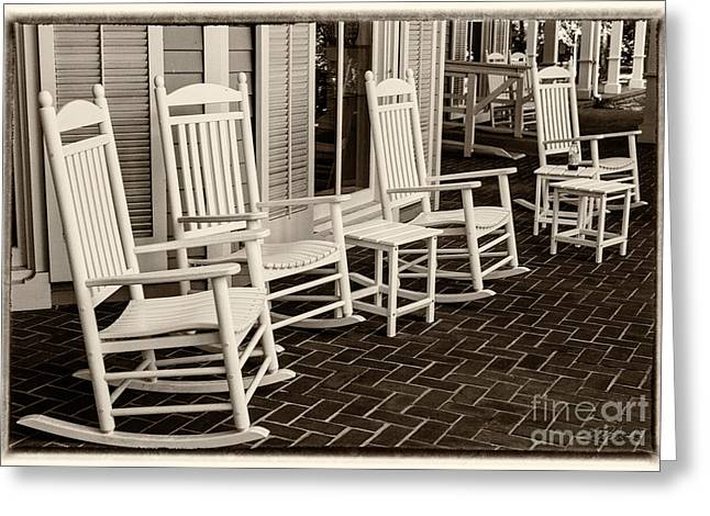 Owner Greeting Cards - White Rockin chairs Greeting Card by Iris Richardson