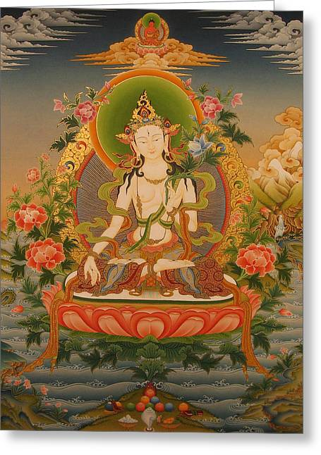 Recently Sold -  - Tibetan Buddhism Greeting Cards - White Tara Greeting Card by Art School