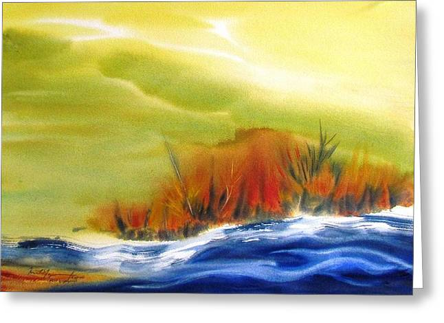 Spring Floods Paintings Greeting Cards - White Water Greeting Card by Marc L Gagnon