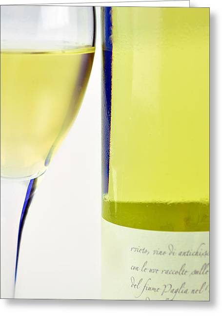 Transparent Mixed Media Greeting Cards - White Wine And Glass Greeting Card by Toppart Sweden