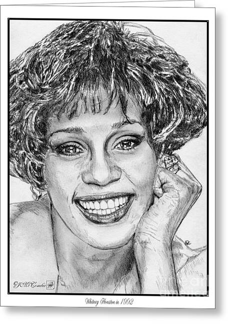 African-american Drawings Greeting Cards - Whitney Houston in 1992 Greeting Card by J McCombie
