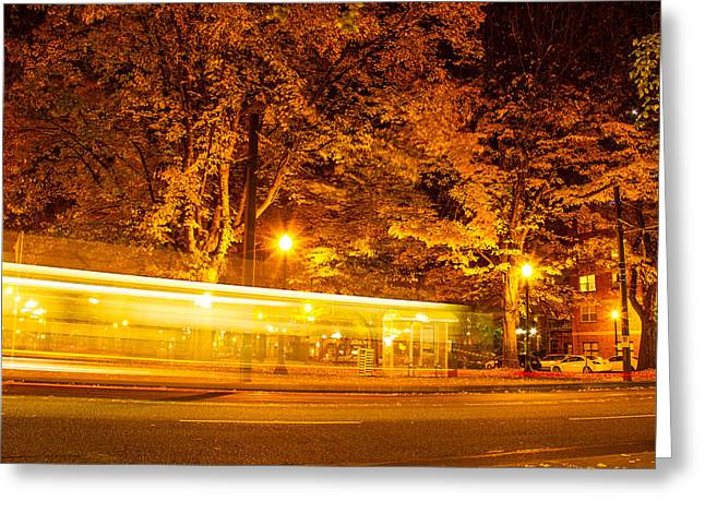 Downtown Portland Greeting Cards - Whoosh Greeting Card by Kunal Mehra