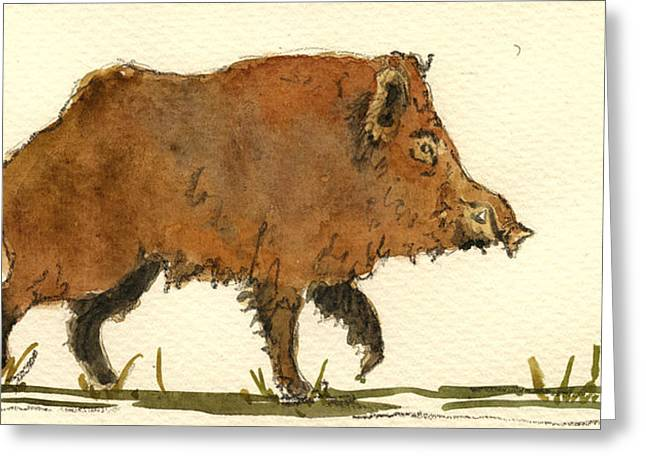 Boars Greeting Cards - Wild boar Greeting Card by Juan  Bosco