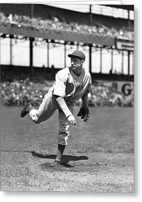 """Pitcher Greeting Cards - William Henry """"Bucky"""" Walters Greeting Card by Retro Images Archive"""