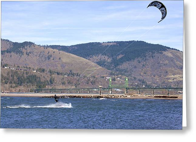 Wind Surfing Greeting Cards - Wind surfing in the Columbia River Gorge OR. Greeting Card by Gino Rigucci