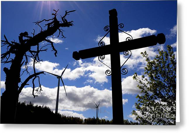 Bare Trees Greeting Cards - Wind turbine and cross Greeting Card by Bernard Jaubert