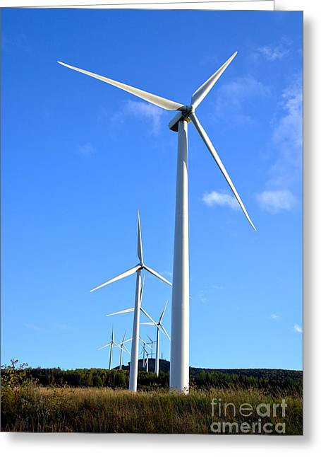 Generators Greeting Cards - Wind Turbine Farm  Greeting Card by Olivier Le Queinec