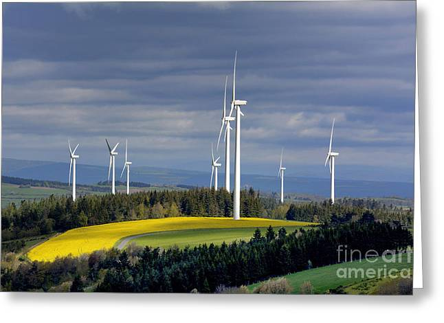 Wind Turbines Greeting Card by Bernard Jaubert