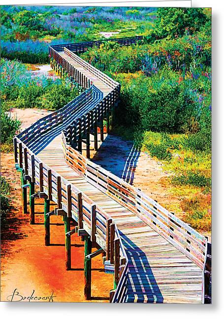 Robin Lewis Greeting Cards - Winding Path in Blue Bloom Greeting Card by Robin Lewis
