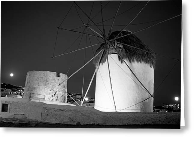 Cyclades Greeting Cards - Windmills and full moon Greeting Card by George Atsametakis