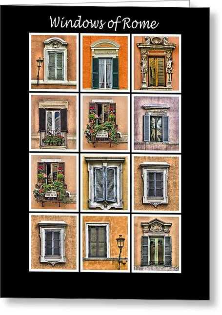 David Letts Greeting Cards - Windows of Rome Greeting Card by David Letts