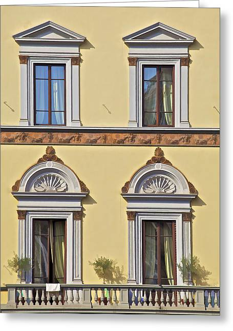 Sea Shell Art Greeting Cards - Windows of Tuscany Greeting Card by David Letts
