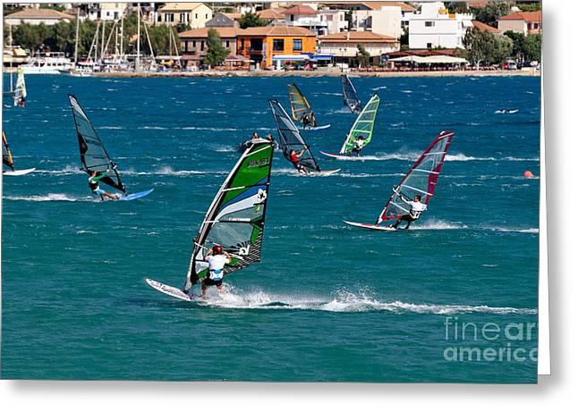 Sailboarding Greeting Cards - Windsurfing in Vasiliki bay Greeting Card by George Atsametakis