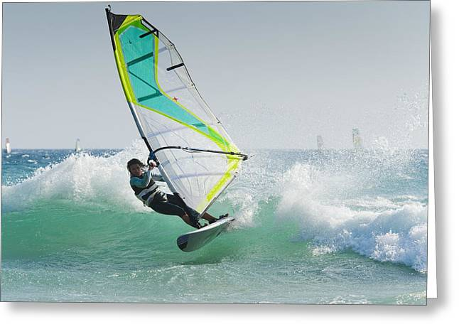 20-29 Years Greeting Cards - Windsurfing Off Punta Paloma Tarifa Greeting Card by Ben Welsh