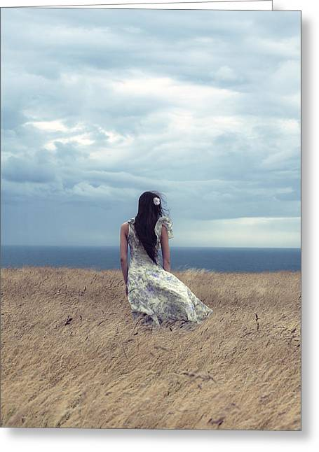 Floating Girl Greeting Cards - Windy Day Greeting Card by Joana Kruse