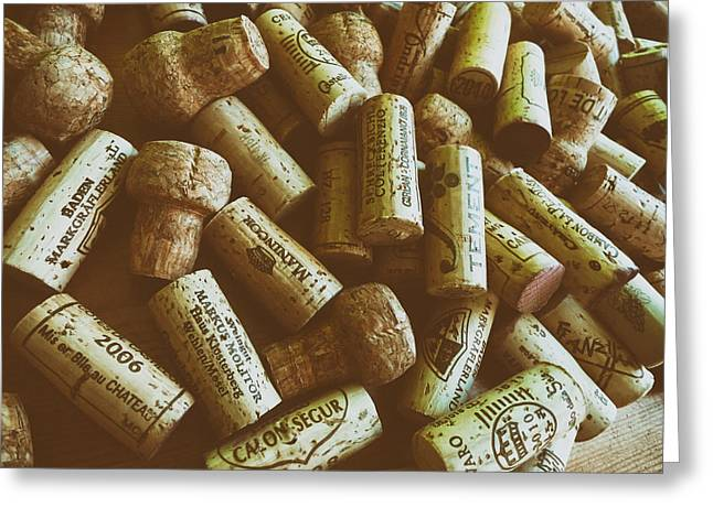 Label Greeting Cards - Wine Bottle Corks Greeting Card by Mountain Dreams
