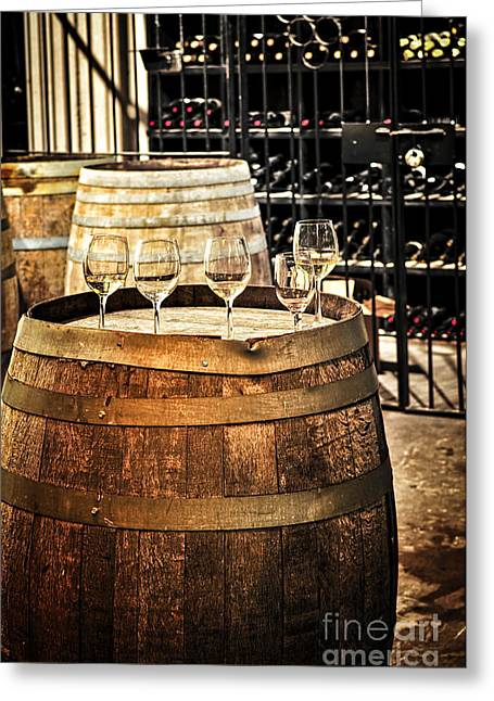 Basement Greeting Cards - Wine  glasses and barrels Greeting Card by Elena Elisseeva