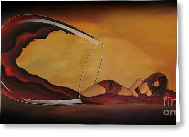 Wine-spilled Woman Greeting Card by Preethi Mathialagan