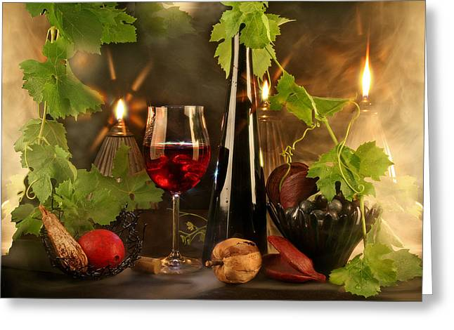 Wine Spirits Greeting Card by Manfred Lutzius