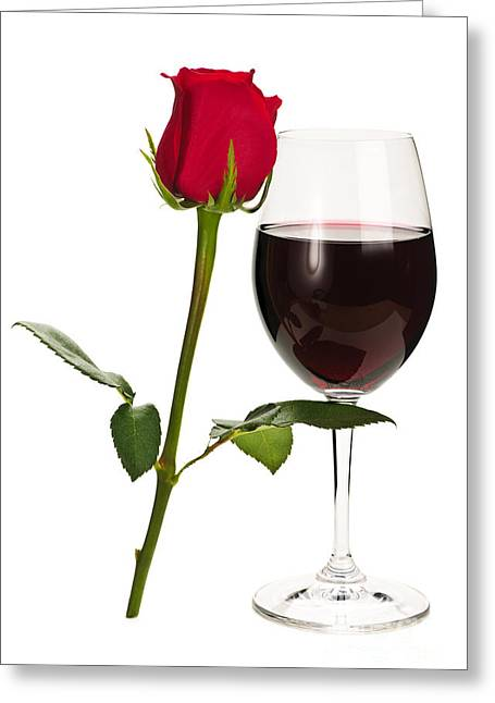 Cabernet Greeting Cards - Wine with red rose Greeting Card by Elena Elisseeva