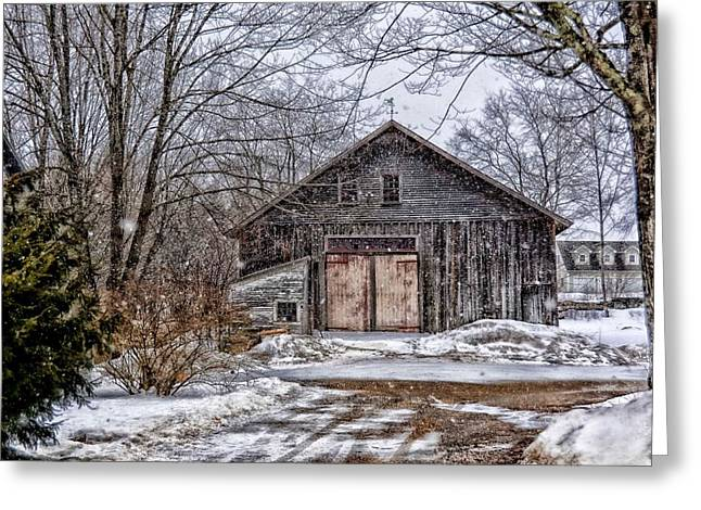 Shed Digital Art Greeting Cards - Winter At The Farm Greeting Card by Tricia Marchlik