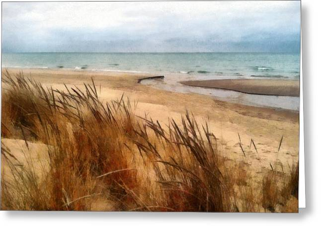 Beautiful Creek Digital Greeting Cards - Winter Beach at Pier Cove ll Greeting Card by Michelle Calkins