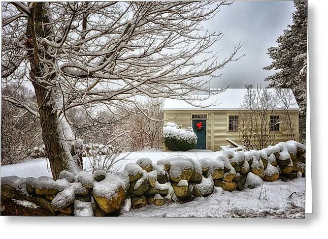 Shed Digital Art Greeting Cards - Winter Cabin Greeting Card by Tricia Marchlik