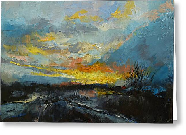 Winter Evening Greeting Card by Michael Creese