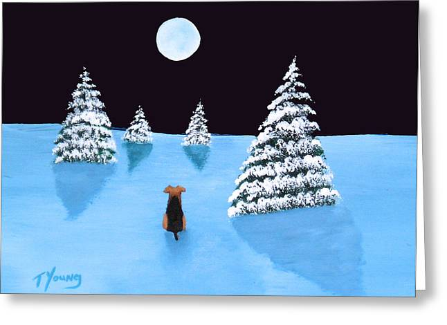Winter Moon Greeting Card by Todd Young