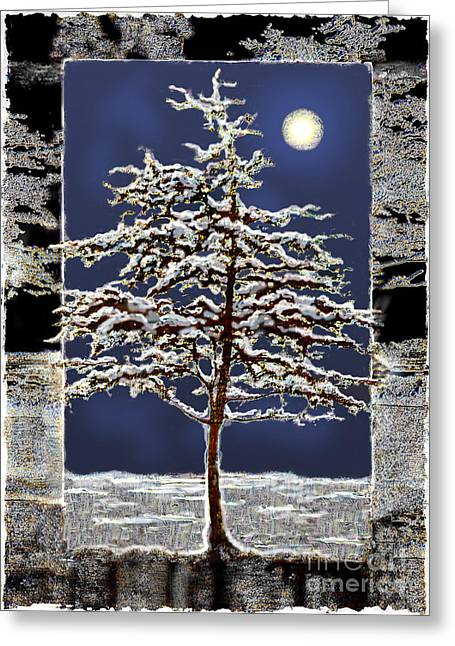 Winter Moon Greeting Card by Ursula Freer