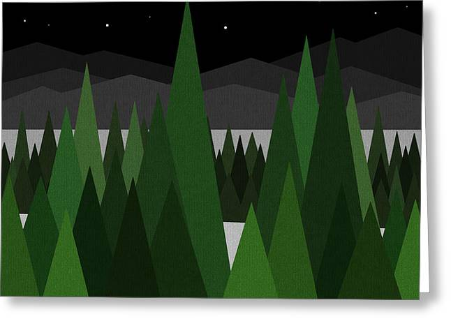 Winter Night Greeting Card by Val Arie