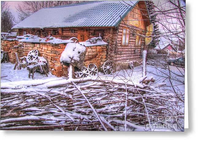 People Pyrography Greeting Cards - winter Russia Greeting Card by Yury Bashkin