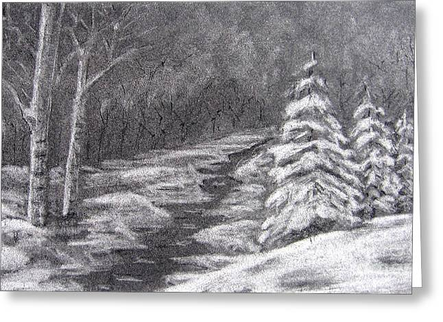White River Scene Drawings Greeting Cards - Winter Scene Greeting Card by Patricia Januszkiewicz
