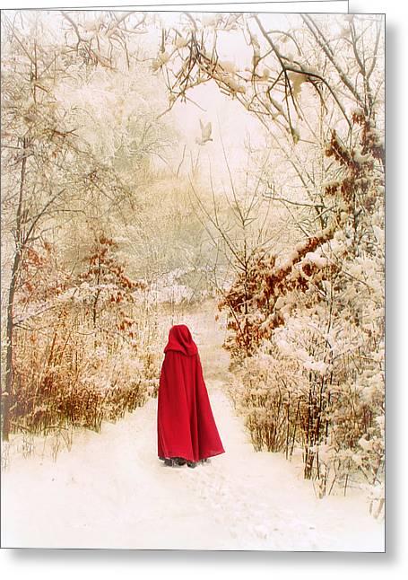 Walk Paths Digital Art Greeting Cards - Winter Walk Greeting Card by Jessica Jenney