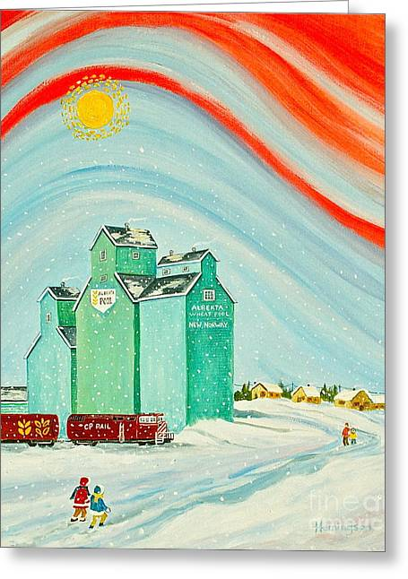 Canmore Artist Greeting Cards - Winter Walk Greeting Card by Virginia Ann Hemingson