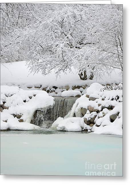 Wintry Greeting Cards - Winter Wonderland Waterfall Greeting Card by Birgit Tyrrell