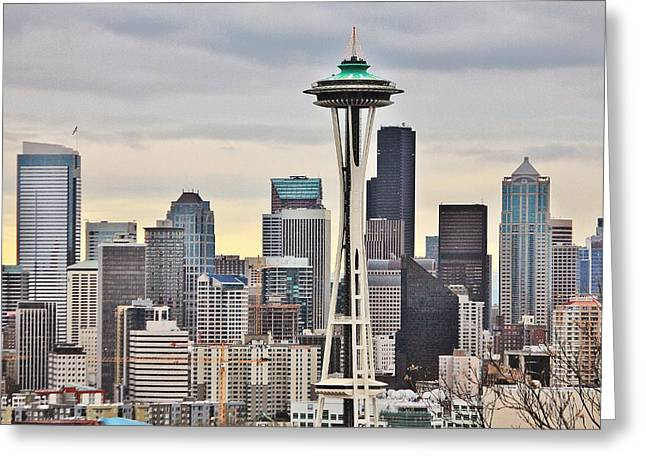 Wintry Photographs Greeting Cards - Wintry Seattle Greeting Card by Benjamin Yeager